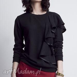 Bluzka z falbanką, BLU119 czarny, bluza, dzianina, falbana, efektowna, czarna
