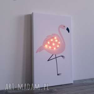 ŚwiecĄcy obraz led różowy flaming personalizowany prezent lampka led