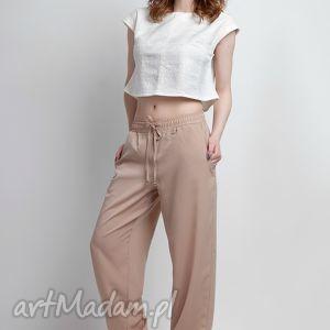 Zwiewne spodnie, SD105 beż, luźne, beżowe, kieszenie, alladynki, pumpy