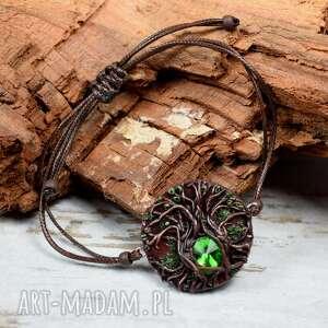 ręcznie zrobione sznurkowa bransoletka z motywem drzewa magic forest