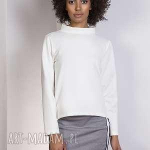 bluzy bluza z dłuższym tyłem, blu139 ecru, bluza, bluzka, trapezowa, stójka, casual