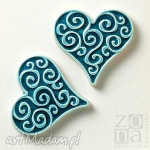 magnesy dwa serca od serca, magnesy, ornamentowe, prezent, dekoracyjne