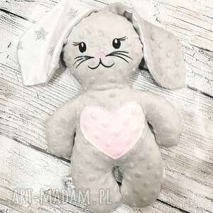 handmade maskotki królik z uszami, przytulanka dla dziecka minky