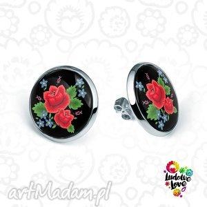 kolczyki sztyfty róże, folk, folklor, ludowe, haftowane, kwiaty, prezent