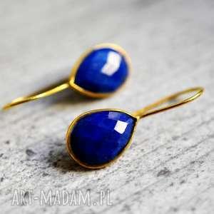 Kolczyki z kamieniami lapis lazuli, kamienie, minerały, kobiece, lekkie, modne