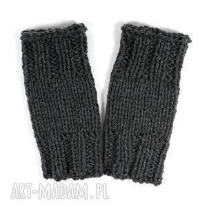 mitenki krótkie ciemnoszare - mitenki, zima, rękawiczki, dziergane