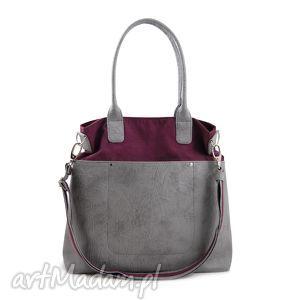 fiella - duża torba burgund o szarość, shopper, modna, wyjątkowa, prezent, trendy