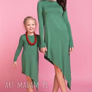 Sukienka asymetryczna z długim rękawem DZIECKO TD3, kolor zielony, sukienka