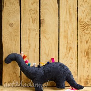 minky and cotton granatowy mięciutki dinozaur - minki z bawełną błękitne romby