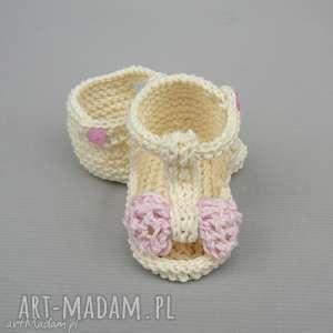 sandałki malaga, buciki, sandały, bawełniane, dziergane, niemowlęce, prezent