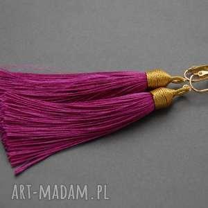 klipsy z chwostami, sznurek, eleganckie, wiszące, długie