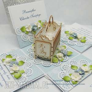 hand-made scrapbooking kartki pamiątkowe pudełko na chrzest święty