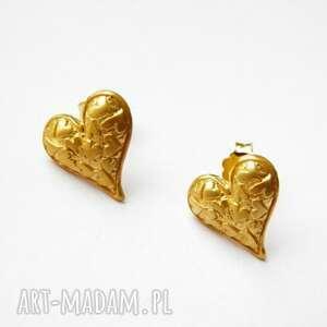 kolczyki srebrne na sztyftach - serduszka złote, kolczyki, srebrne, pozłacane