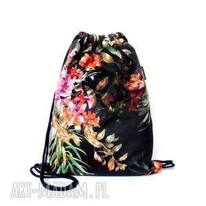worek plecak welurowy flowers, worek, plecak, welurowy, kwiatowy, ręcznierobiony