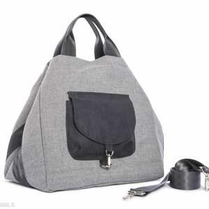 na ramię torba big duo xl - jasny popiel, wielofunkcyjna, pojemna, duża, ciekawa