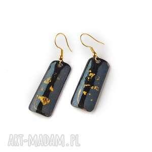 kolczyki emaliowane ze złotem płatkowym 24ct, emalia jubilerska, złoto24ct