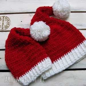 ręcznie robione prezent czapka św. Mikołaja dla ciebie i twojego maluszka