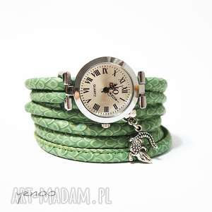 zegarek, bransoletka - zielony, wężowy krokodyl, bransoletka, owijany