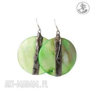 kolczyki zielone koła perłowe, technika-tiffany, kolczyki-koła, srebro, etno