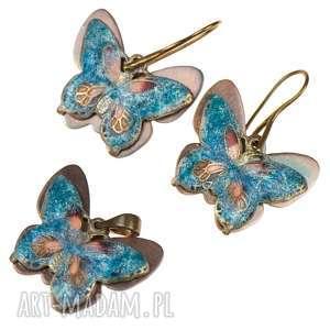 Prezent c242 komplet biżuterii z motylami, komplet-z-motylami, kolczyki-motyle