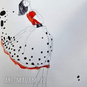 Praca akwarelą i piórkiem AH! artystki plastyka Adriany Laube, akwarela, kobieta