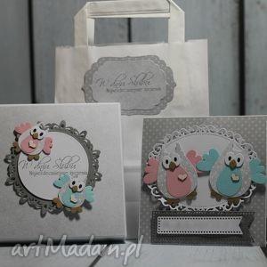 zestaw ślubny z sowami, ślub, kartka, prezent, sowa, pudełko