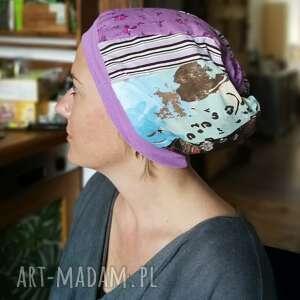 czapki czapka damska smerfetka szyta patchworkowy na podszewce, obwód głowy