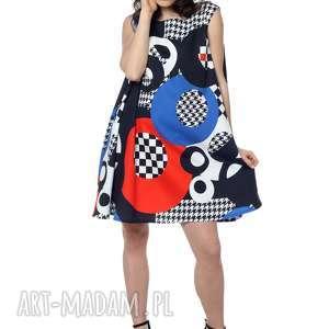 wyjątkowa, geometryczna sukienka z koła 100 bawełna, designerska, polska marka