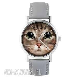 zegarek - kot tygrysek skórzany, szary, zegarek, pasek