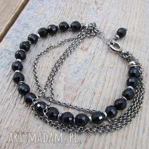 Czarny turmalin z łańcuszkami - bransoletka, srebro, oksydowane,