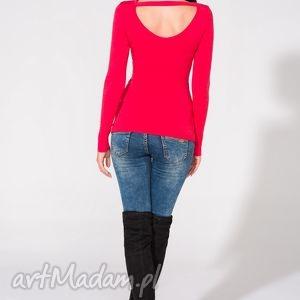 bluzka z odkrytymi plecami, t149, czerwona, bluzka, dzianina, wiskoza, przylegajaca