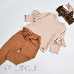 ręcznie robione spodnie z kokarda i bluzeczka oraz 2 opaski