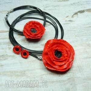 Komplet biżuterii czerwone maki , maki, kwiaty, lato, mak, fimo, komplet
