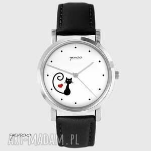 Prezent Zegarek - Kotek, serce skórzany, czarny, zegarek, bransoletka, kot,