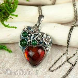 Prezent Bursztynowe serce w kwiatach naszyjnik srebrny a703 , naszyjnik-serbry