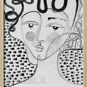 obraz 30x40 akryl na płótnie - twarz, obraz, ręcznie, malowany, grafika, kobieta