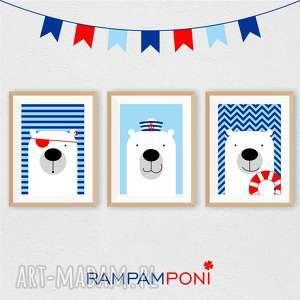 zestaw plakatÓw dla dzieci trzy marynarskie misie a4 - miś, marynarski, dziecko