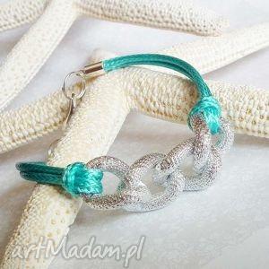bransoletka typu casual z łańcuchem i sznurkami, turkusowy, łańcuch, srebrna