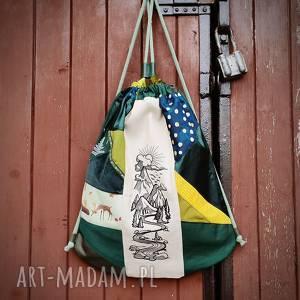 plecak worek upcyklingowy z haftem - ,plecak,worek,haft,las,góry,upcykling,