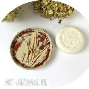 ceramiczna mydelniczka/spodeczek trawy, polskie rzemiosło, polska ceramika