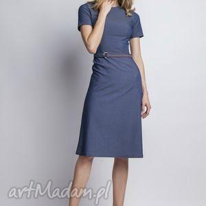 Jeansowa sukienka z krótkim rękawem, SUK127 jeans, prosta, romantyczna