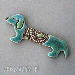 KOPALNIA CIEPLA, jamniś-broszka ceramika (skandynawski, minimalizm design, pies, jamnik praca)