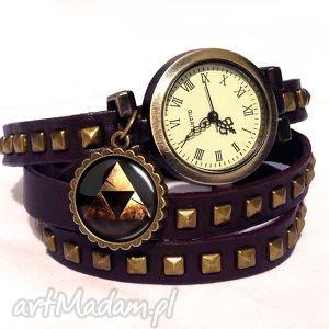 handmade bransoletki zelda triforce - zegarek/bransoletka na skórzanym pasku