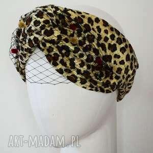 handmade czapki opaska z panterą