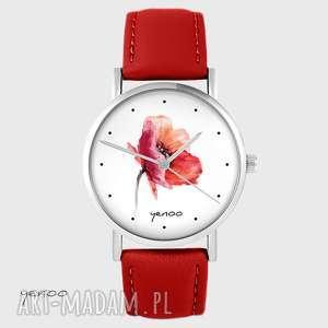 zegarki zegarek - mak skórzany, czerwony, zegarek, pasek, kwiat