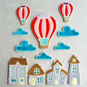Bajkowy zestaw magnesów, magnesy, balon, bajkowe, kuchnia, lodówka, domki