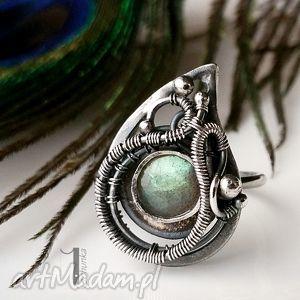 Prezent Zielona arabeska - srebrny pierścionek z labradorytem , srebro, 925