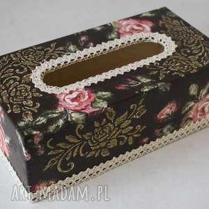 Prezent Chustecznik Różany, róże, złoto, chusteczki, prezent, pudełko, decoupage