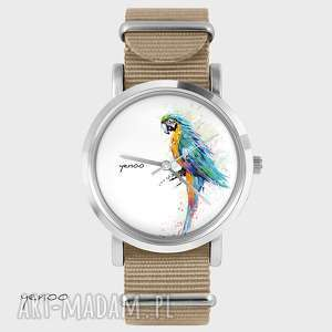 Prezent Zegarek, bransoletka - Turkusowa papuga beżowy, nato, zegarek,