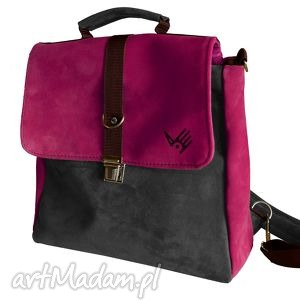plecak teczka różowo-szara, różowa, zamsz, skóra, szara, oldschool, plecaki